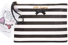 Betsey Johnson $65 NWT Black White Stripe Large Pouch Sticky Situation Stickers