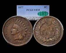 1877 INDIAN CENT ~ PCGS CAC VERY FINE VF 25 THE KEY!!