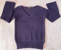 J Crew Womens Knit Swing Sweater Navy Blue V Neck Flared Long Sleeve Size XXS