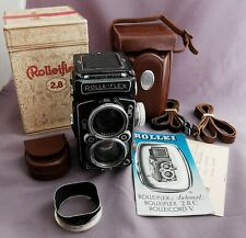 """Rolleiflex 2.8C Zeiss Planar 120 format TLR with box, case, papers - """"beater"""""""