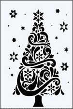 CHRISTMAS TREE & STARS MYLAR REUSEABLE STENCIL - A5 - IMAGE  APPROX 18 x 11cm