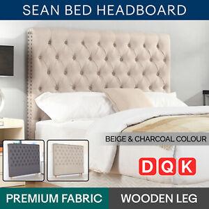 KING QUEEN DOUBLE Bed Head Headboard Padded Fabric Bedhead Beige Charcoal Sean