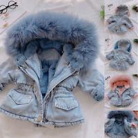 Toddler Kids Baby Girls Hooded Faux Fur Fleece Warm Thick Denim Coat Outwear