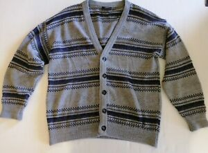 VINTAGE Ansett Tradewinds Knit Cardigan Mens Size 18 Grey Button Up Long Sleeve