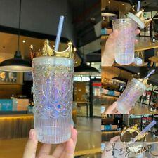 Starbucks Tumbler China Anniversary Siren Mermaid Golden crown Glass Straw Cup