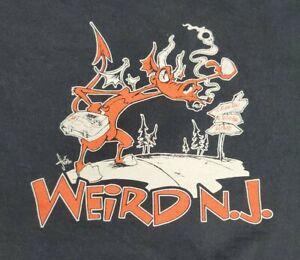 Vintage 90s Weird New Jersey NJ Tshirt Large Jersey Devil Paranormal Halloween
