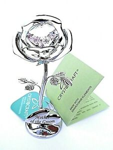 """Mother of the Groom Gift - 8cms (3"""") SILVER STYLE PINK CRYSTAL ROSE in GIFT BOX"""