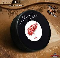 GLENN HALL Signed Detroit Red Wings Puck - Chicago Blackhawks