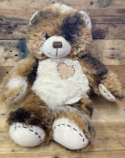 """Patchwork Heart Brown Teddy Bear Build A Bear 15""""  BAB Color Patches Soft Plush"""