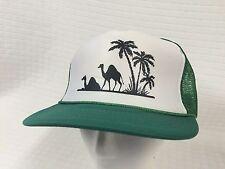 2 Camels Green mesh back White Front Palms FLAT BILL Snap Back TRUCKER hat