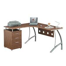 L Shape Corner desk with File Cabinet. and privacy panel. Color: Coffee