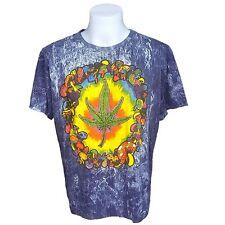 Marijuana weed leaf short sleeve men t-shirt blue hippy bohemian style size XL