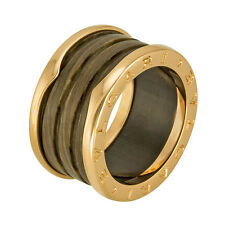 Bvlgari B.zero1 18kt Pink Gold and Brown Marble Ring Size 53