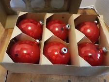 """6 Vintage Paragon Glass Christmas Tree ornaments 3 1/4"""" RED USA   IRREGULARS"""