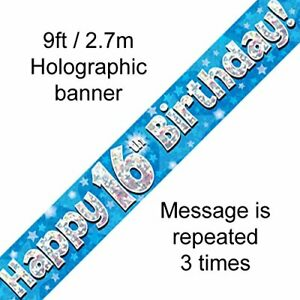 Birthday Banner Blue Party Decoration Happy Birthday 16 9ft Holographic foil