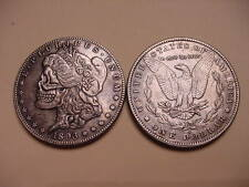 1893 Morgan Dollar Eagle Back Silver Plated Toned Skull Coin- Rare- Vintage x1