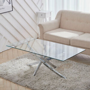 Clear Tempered Glass Coffee Table Rectangle Low Desk Stand for LivingRoom Office