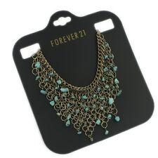 NWT Forever 21 Gold Chain Free Spirit Tribal Link Bib turquoise stone Necklace