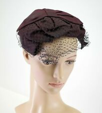 Ladies Vintage Hat Brown with Bows and Netting - Dth