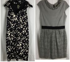 Lot 2 Womens 8 Dresses Anthropologie Taylor Black White Ruffle Gray Braid