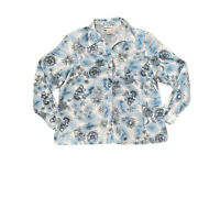 Miller's Womens Blue Pastel Top Size 20 Button Front Floral Silver Glitter Lines