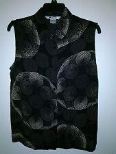 Nygard Collection Women's Black Beige Sleeveless Button Up Polka Dot Blouse 14