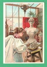 1897 WATERTOWN, NY TRADE CARD CORSETS LADY SCULPTOR STUDIO SCULPTS BUST-CORSET
