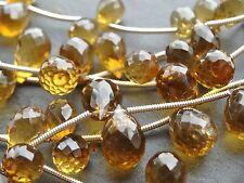 14 x HAND FACETED COGNAC QUARTZ BRIOLETTES, 6x8mm - 8x12mm beads