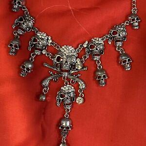 Betsey Johnson Rhinestone Multi Skull Pirate Necklace Choker