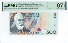 Albania 500 Leke 2007 PMG 67 EPQ s/n IH099404 Paper