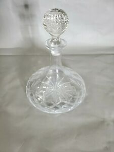 Vintage Crystal /  Glass  Ship Captain  Liquor Wine Whisky Decanter 10'' T ~8''W