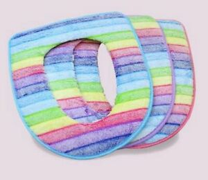 Rainbow Coral Velvet Warm And Comfortable Toilet Seat Cover For Bathroom Cushion