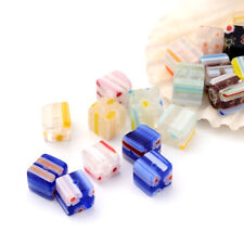 20pcs Colorful Handmade Milleriori Glass Beads Cube Lampwork Tiny Beads 6x6mm