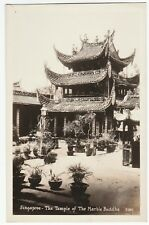 RARE Real Photo Postcard - Singapore 1920s Temple of the Marble Buddha  RPPC