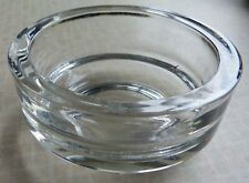 VINTAGE HEAVY CLEAR GLASS POT FLOWER CANDLE HOLDER