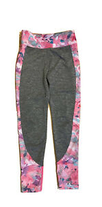 Justice Girls Size 8 Pink Floral and Gray Full Length Leggings