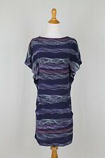 CACHAREL Dress Blue Silk Flutter Sleeve with Slip French 34 USA XS