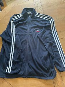 Adidas Mens Micro Fleece Climawarm,XL. Blue With Full Zip. Retro Triple Stripe