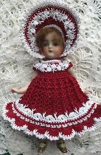 Crochet Dress for 6 - 7 Inch Mignonette, Kestner Or All Bisque Doll Ted/white