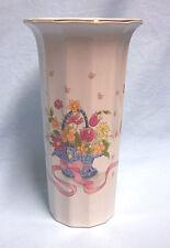 Floral Vase Decorative Art Fine China Vase Gold Trim Japan Multi-sided White