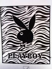 "Playboy Black and White Zebra Raschel Throw Blanket 50""x60"""