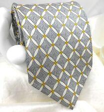 "LAURANT BENON Men's Silk Tie Modern Diamond Floral Link 3 3/4""x 57"" Silver White"