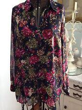 Pleione 1x Fall Roses Floral Dress Blouse NWT Feminine Romantic Chic!