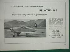 2/1959 PUB PILATUS P.3 AVION ECOLE SWISS AIRCRAFT FLUGZEUG ORIGINAL ADVERT