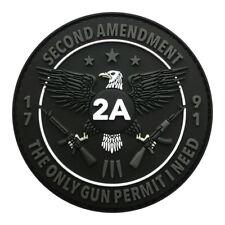 Gun Permit 2nd Amendment NRA 1791 USA Hook Patch [3D-PVC Rubber- 3.0 inch-MG-8]
