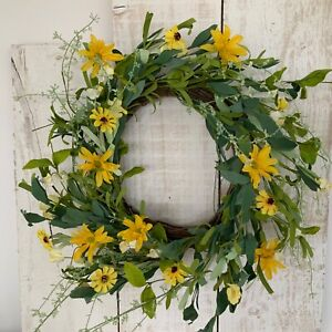 50cm Yellow Daisy Leaf Artificial Flower Easter Wreath Gisela Graham Spring