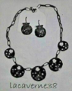 Parure bijoux IKITA neuve superbe collier + boucles d'oreilles noir strass