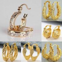 Fashion 18K Yellow Gold Filled Crystal Stud Hoop Dangle Earrings Wedding Jewelry