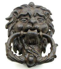 Cast Iron Lion Head Door Knocker Rustic Brown