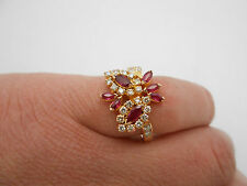 Absolutely Stunning Vintage 18k Solid Gold Natural Ruby & Diamond Butterfly Ring